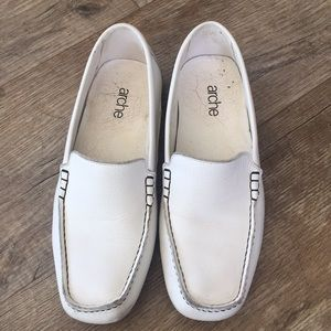 ARCHE white leather loafers